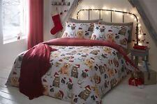 Navidad Perros Gatos conejos Tartán Gris Rojo Tamaño King 4 piezas Juego de cama