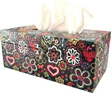 Retro Tissue Storage Box Colourful Flower Power Design Multi home Office Car