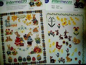 2x Kreuzstich - Anchor- Intermezzo- Osterhasen und Ostern - farbig