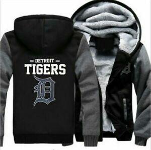 New Detroit Tigers Fans Hoodie Winter Fleece Mens Thicken Sweatshirts Coat