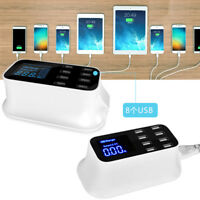 8 Multi-Port USB Adapter Desktop Wall Charger Smart LCD Display Charging Station