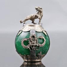 Collectable Green Jade Armor Tibetan Silver Hand-carve Zodiac statue -- Tiger