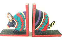 Oaxacan Alebrije Mexican Armadillo Book Ends Hand Painted Folk Art