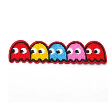 Patch Toppa Pacman Ghosts Pac Man Abbigliamento Ricamata Termoadesiva 10x2,6cm