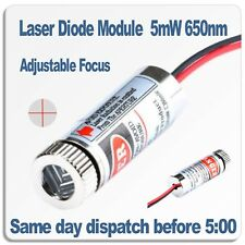Adjustable Focus Laser Module 5 Volt. Red Focusable Cross Line laser 5mW 650nm