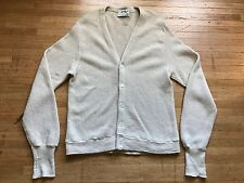 VTG Men's LORD JEFF Off-White 100% Worsted Wool Cardigan Sweater Size L USA MADE