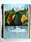 Hand Painted Swans On Autumn Lake On Live Edge Basswood By Phyllis