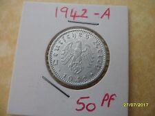 German 50 Reichspfennig 1942-A Third Reich Aluminium Coin WW2 pf