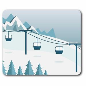 Computer Mouse Mat - Ski Lift Snowy Mountain Piste Office Gift #12726