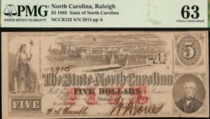 UNC 1863 $5 RALEIGH NORTH CAROLINA NOTE LARGE CURRENCY OLD PAPER MONEY PMG 63