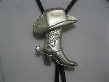 BOLO TIE #972S - Silver Plated Hat & Boot