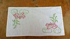 Vintage Hand Embroidery Red Floral Lilly Rectangle Fabric Doilie Free Shipping