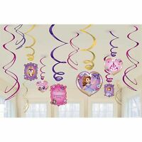 (12) PRINCESS SOFIA THE FIRST HANGING SWIRL DECORATIONS Birthday Party Supplies