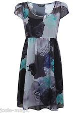 Miss Selfridge Floral Rose Print Empire Dress 8 36 Grey Blue Green Chiffon New