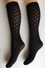 Ladies Fashion Heart Knee Highs/ Pop socks  Black O/S opaque X2 PAIRS