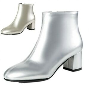 Hot Women Patent Leather Square Toe Chelsea Zipper Block Mid Heels Ankle Boots B
