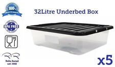 5 x 32L 32Litre Underbed Clear Plastic Storage Box w/Lids Stackable * BPA Free