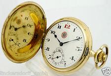 Roskopf patente 14ct reloj de bolsillo de oro-diam. aprox. 41,9 mm, 48,6 g rara vez extremadamente!