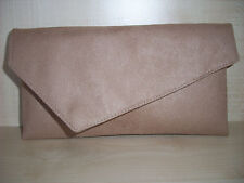 SMALL BEIGE/NUDE  faux suede asymmetrical clutch bag, fully lined BN,