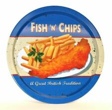 Martin Wiscombe Retro Fish & Chips Round Tin Tray - Large Range In Stock