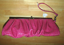 Kenneth Cole Wristlet Pink Clutch Reaction Croco Coral Frame Purse Bag Tote