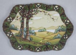 Antique MORIMURA BROS NIPPON Dark Woodland SCENIC DRESSER TRAY Arts & Crafts Era
