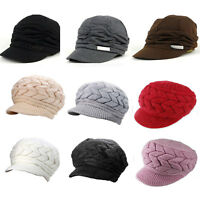 Winter Hat Cap Peaked Visor Brim Fleece Slouchy Women Ladies Beanie Knitted Hats