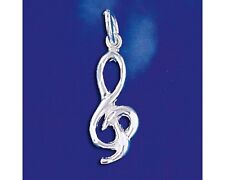 Sterling Silver G Clef Pendant Treble Musical Note Charm Music Symbol 925 Italy
