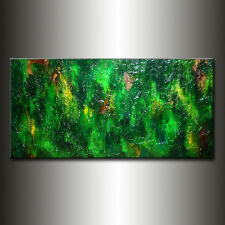 Original Modern Green Rich Textured Abstract Canvas painting By Henry Parsinia
