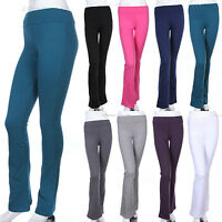 Womens' Solid Plain Fold Over COTTON Flared Boot Cut Yoga Pants (GOOD QUALITY)