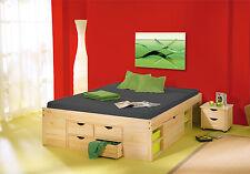 Lit double 180x200 rangements tiroirs sommiers chevet moderne pin massif NATUREL