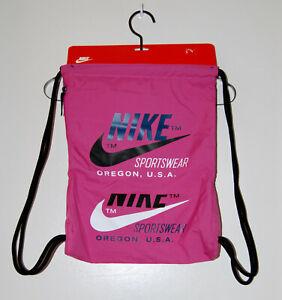 New! NIKE Fuchsia Pink Drawstring Large Logo Sling Gym Bag One Size