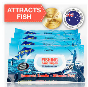 4x FISH-OFF Fishing Hand Wipes Removes Smells Attracts Fish Fishing Gear