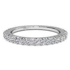 Real 950 Platinum Rings 0.60 Ct Natural Diamond Wedding Women's Band Size M N P