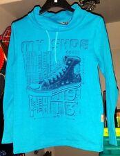 modisches Jungen Langarm Shirt , Blau , Aufdruck , Größe 110 / 116 , NEU