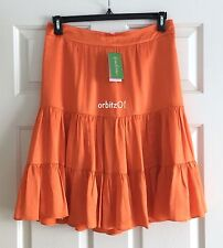 NWT NEW LILLY PULITZER JIMMIE SOLID BREAKERS ORANGE SILK CHARMEUSE SKIRT SZ 8