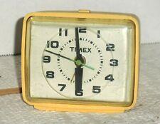 "Vintage Timex Alarm Clock USA Yellow 3-1/2"" x 3"""