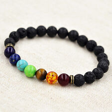 Yoga Reiki Prayer Stone Fashion 7-Chakra Healing Balance Beaded Bracelet Lava