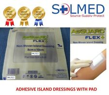 5 X ISLAND ADHESIVE DRESSING 8cm x 10cm STERILE AsGUARD WOUND DRESSING WITH PAD