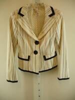 Womens 4 Nanette Lepore Ivory Striped Jacket Blazer Sport Coat Summer Black Trim