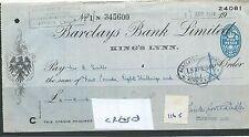 WBC. - ASSEGNO-CH1165-Usato -1944 - BARCLAYS Bank, KING'S Lynn-PIEGATI