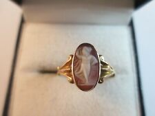 GORGEOUS ANTIQUE 9ct ROSE GOLD SHELL CAMEO RING, CHESTER, 1914 SIZE P 1.5g