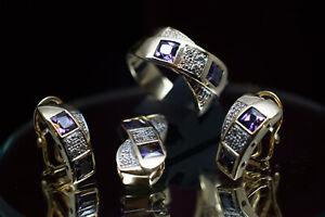 💎Schmuck,Set,750er,18 Kt Gold,Ring,Ohrringe,Anhänger,Amethyst,Brillant,Diamant