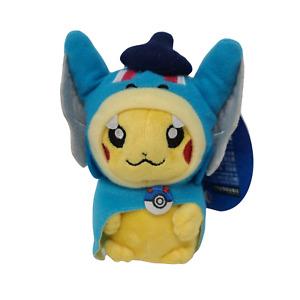 "2014 Pokemon Center Hiroshima Blue Gyarados Poncho Pikachu Key Chain 5"" Plush"