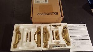 NEW Andersen Newbury 4 Panel Gliding Patio Door Wall Handle Hardware Set Brass