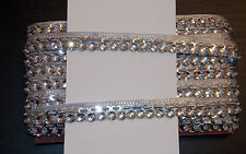 Argent 17mm bijou sequins indian mariage danse costume ruban maille strass
