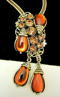 "Rare Vintage 24"" Signed Selro Goldtone Amber Glass Rhinestone Bolo Necklace A54"