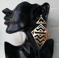 "10cm - 4"" long shiny gold tone geometric CLIP ON drop earrings"