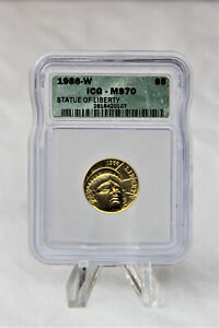 MODERN COMMEMORATIVES 1986 W STATUE OF LIBERTY $5 ICG MS70. 95,248 MINTED RARE