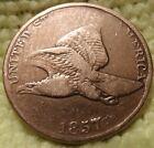 1857 VF Flying Eagle Copper Nickel Cent Great details Pre-Civil War-Era Relic..